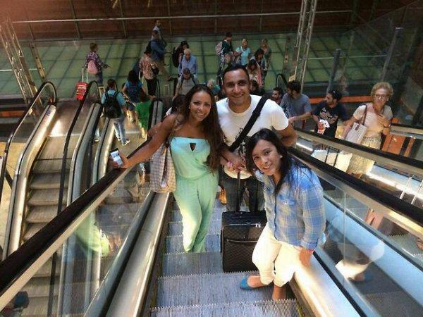 Keylor Navas, Andrea Salas, Daniela et Mateo Navas à Madrid