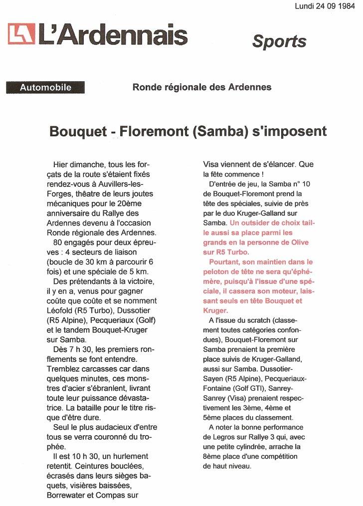 23 Septembre 1984 - 20ème RONDE DES ARDENNES (08) - Presse locale
