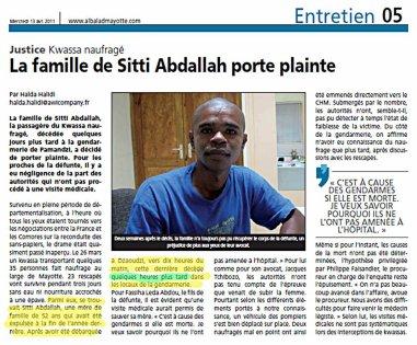 Comores / Mayotte : La version du préfet sur le décès de SITTI ABDALLAH dans les locaux de la gendarmerie