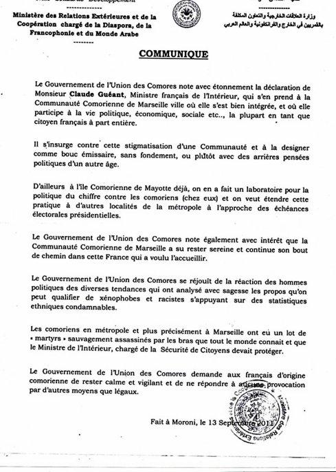 Comores /Affaire Guéant : Communiqué du gouvernement comorien