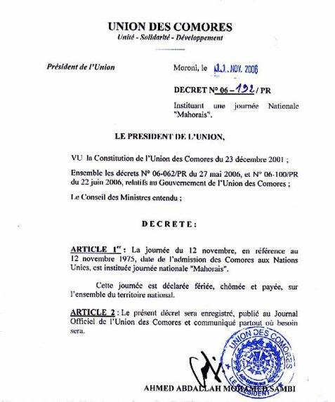 12 novembre, journée nationale « Mahorais » aux Comores