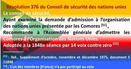 COMMEMORATION DE L'ADMISSION DES COMORES A L'ONU 12 Novembre 1975 – 12 Novembre 2011