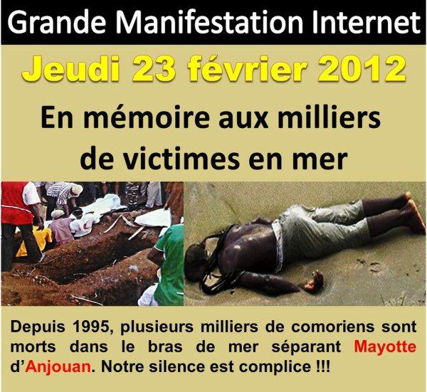COMORES / MAYOTTE: Manifestation Internet en mémoire aux  milliers de victimes en mer