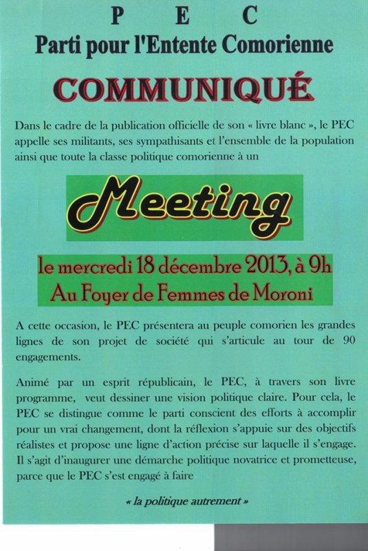 COMORES / MORONI : Meeting  du PEC le 18 décembre