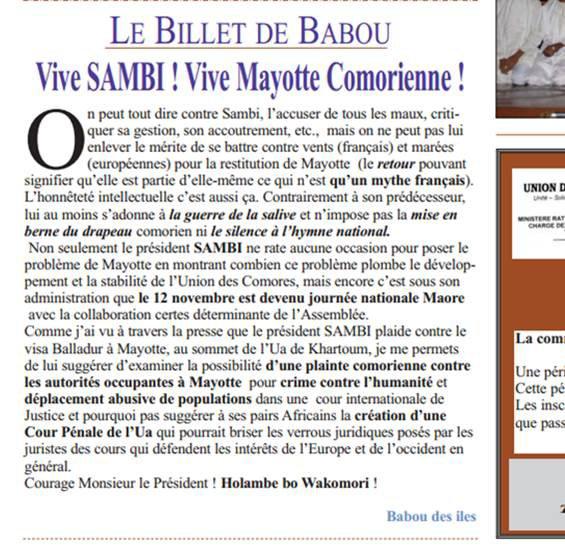 COMORES : Vive Sambi ! Vive Mayotte comorienne