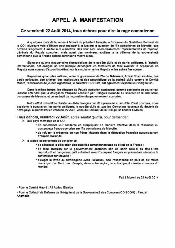 COMORES : Urgent !!!