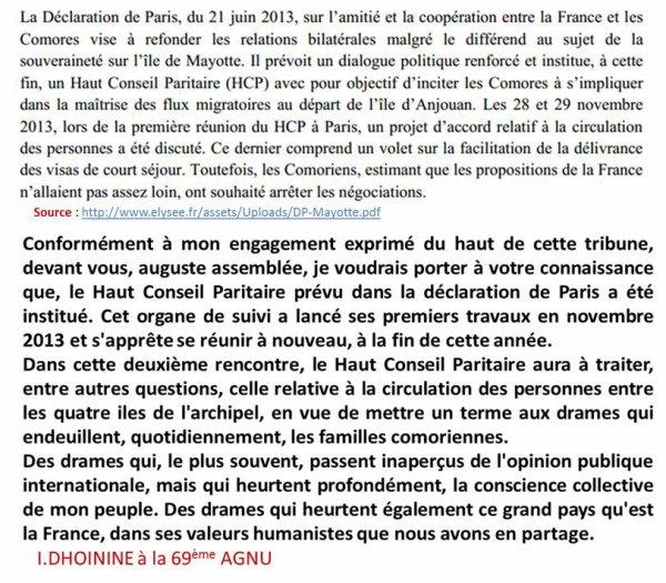 Le discours chiant du Président des Comores I.DHOININE à la 69ème AGNU