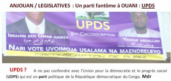 ANJOUAN / LEGISLATIVES  : Un parti fantôme à OUANI : UPDS