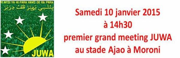 Aujourd'hui 10 janvier 2015 à 14h30 meeting JUWA au stade Ajao