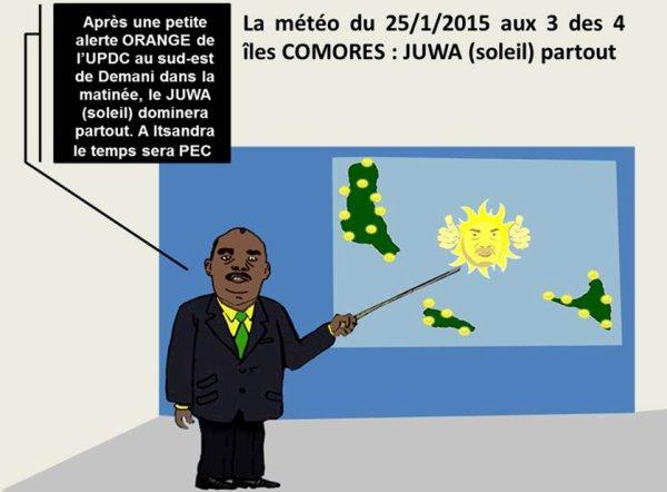 La météo des 3 îles Comores du 25 janvier : JUWA (soleil) partout