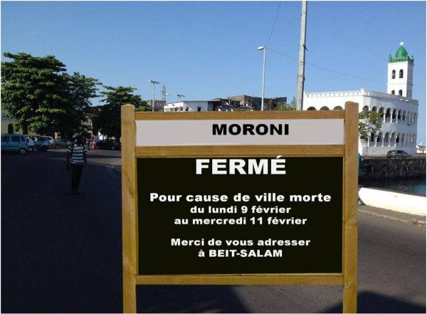 COMORES : MORONI fermé pour cause de ville morte