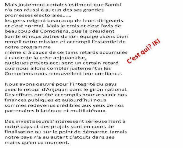COMORES : La défense maladroite de la tournante