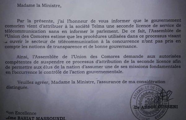 L'assemblée nationale veut suspendre le processus d'attribution d'une seconde licence de telecommunication à Telma