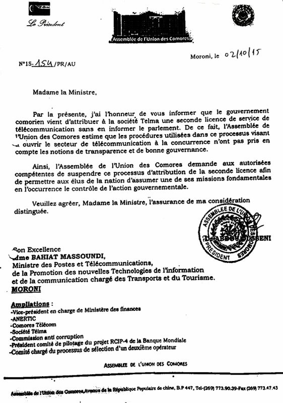 Comores : LA LETTRE qui demande  la suspension du processus d'attribution de la seconde licence à TELMA