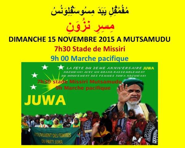 JUWA vous invite au stade de Missiri, dimanche 15 novembre