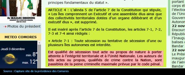 COMORES : L'article 14 régit la vacance ou l'empêchement définitif