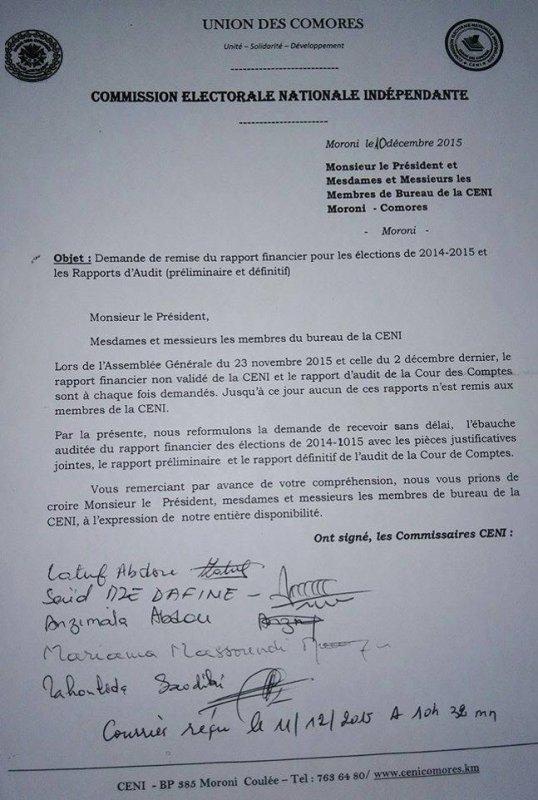Motion de défiance à la CENI Comores.