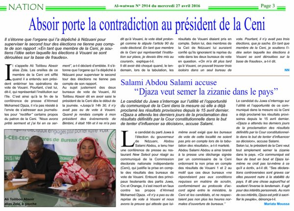 Comores / Eléctions : CENI contre CENI . ABSOIR porte l'estocade sur DJAZA;