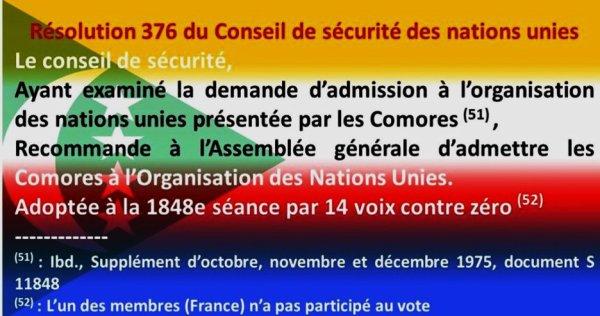 Admission des Comores composées de 4 îles à l'ONU