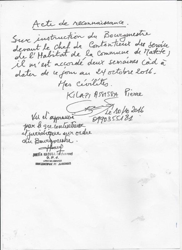 Matete : Affaire Kilapi Assissa:  Le Bourgmestre Baylon et le chef de service contentieux : le langage des sourds