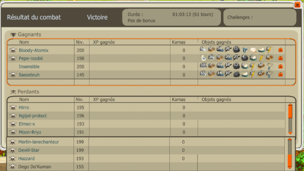 "Agression percepteur de la guilde ""We Just"" level 157, beau combat!! :)"