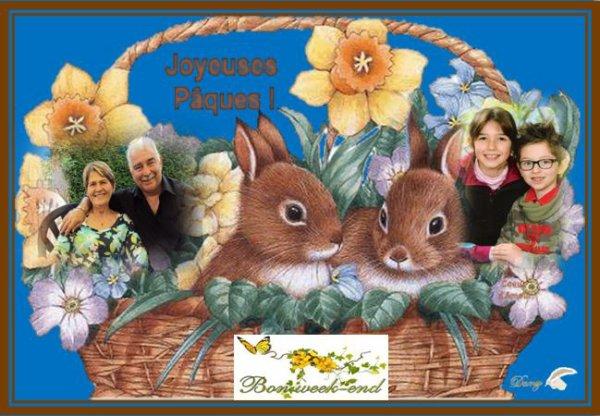 @ avec mon épouse Liliane,et mes deux petits enfants Manon et Noa nous passons vous souhaiter un très bon week-end de Pâques@