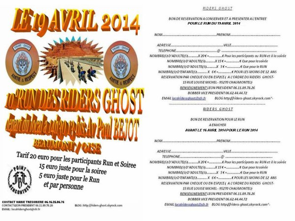 RESERVATION POUR LE RUN DES RIDERS GHOST 2014