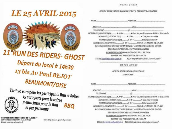 RESERVATION RUN DES RIDERS GHOST 2015