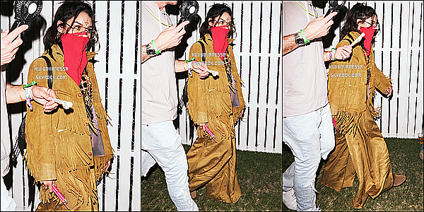 * 15/04/17 : Vanessa était présente au deuxième jour du festival « Coachella Music & Arts Festival », à Indio. Dommage qu'il n'y ait pas beaucoup de photos. Vanessa s'y est rendue aves plusieurs de ses amis. Je ne suis pas fan de la tenue qu'elle porte, flop  *
