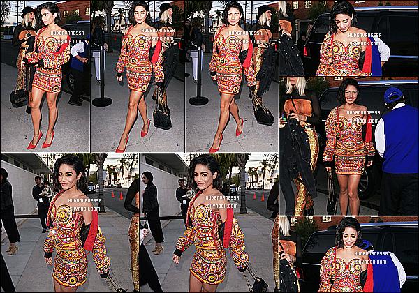 * 08/06/17 : Vanessa Hudgens a été repérée, lorsqu'elle arrivait puis quittait les studios « Milk » à Los Angeles . Vanessa se rendait donc à un événement. Concernant sa tenue j'aime assez mais j'avoue qu'elle aurait pu faire mieux. C'est donc un Bof pour moi.  *