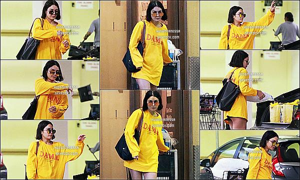 * 15/07/17 : Vanessa a été aperçue alors qu'elle faisait du shopping au supermarché « Ralph », dans Studio City. Vanessa est belle. J'aime bien la tenue qu'elle porte. Ses lunettes de soleil sont jolies. Par contre ses chaussons sont horribles. Un petit Top pour moi  *