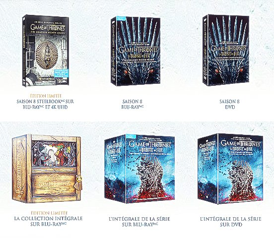 #FORTHETHRONE ♙ Les DVD de la saison 8 de Game Of Thrones et de l'intégrale de la série sont maintenant disponibles
