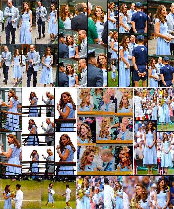 14.07.19 : La Duchesse Catherine s'est rendu avec son époux à la grande final du tournoi de Wimbledon pour homme à Londres !  Après avoir passer du temps avec sa s½ur, Kate et son époux le Prince William pour la final du tournoi des Hommes. Top pour sa tenue !