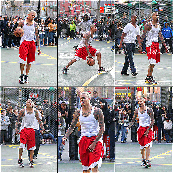 CECI EST UN FLASH BACK.  22 Mars 2011 : Chris jouant au basket dans 'The Cage' dans les rues de New York .