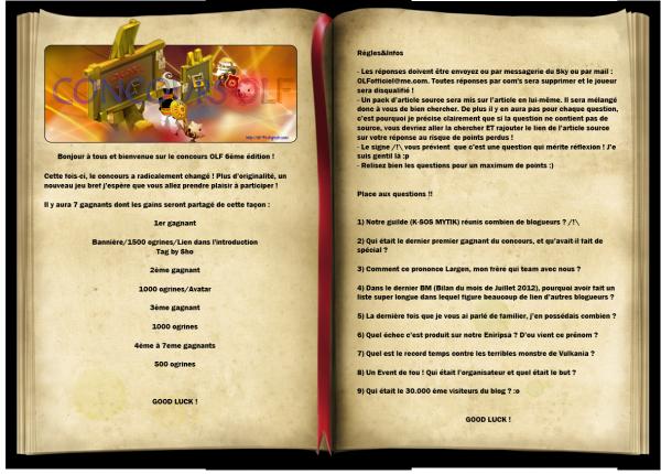 6eme édition du CONCOURS OLF !