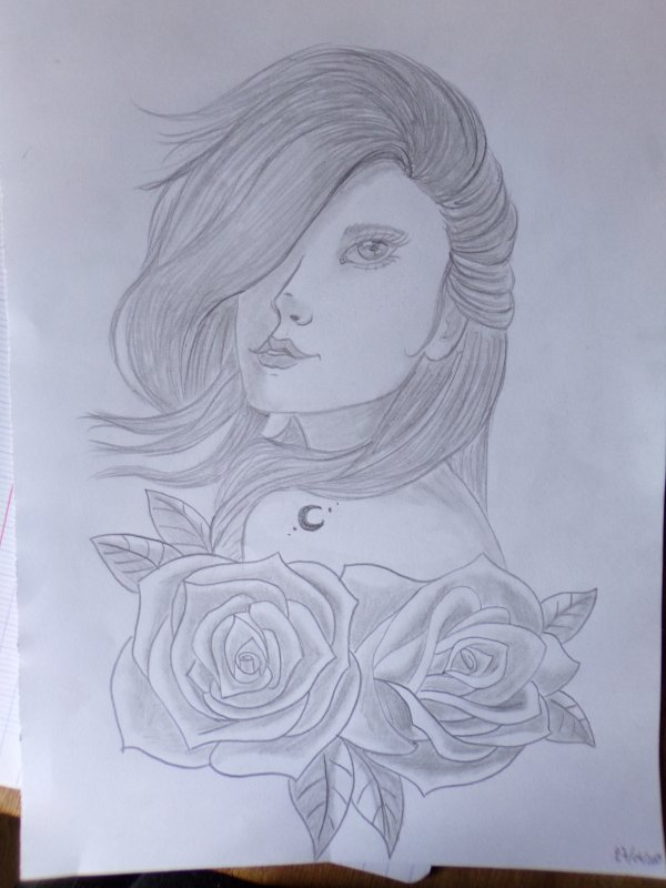 The girl with roses
