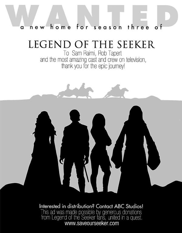 Legend of the Seeker ♥ Save our Seeker  Meme si la série est terminée depuis quelques années, les fans n'abandonnent pas ...