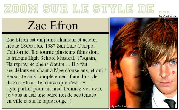 Découvre Leur Style ; Zac Efron
