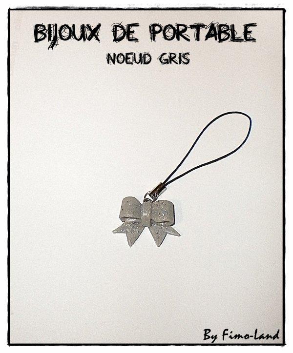 Bijoux de portable Noeud Gris ✔