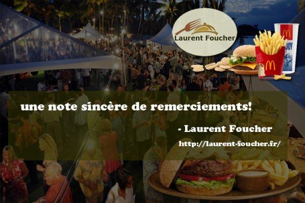 Laurent Foucher: une note sincère de remerciements!