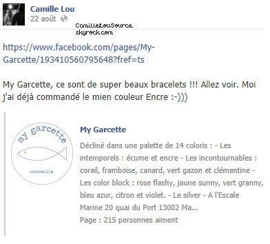 Statuts Facebook de Camille le 21/22/26/27/28 Aout