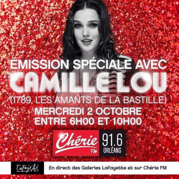 Camille à la radio d'Orléans, en direct, le 2 octobre !