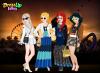 Elsa, cendrillon, Ariel et Jasmine en jeu d'habillage.