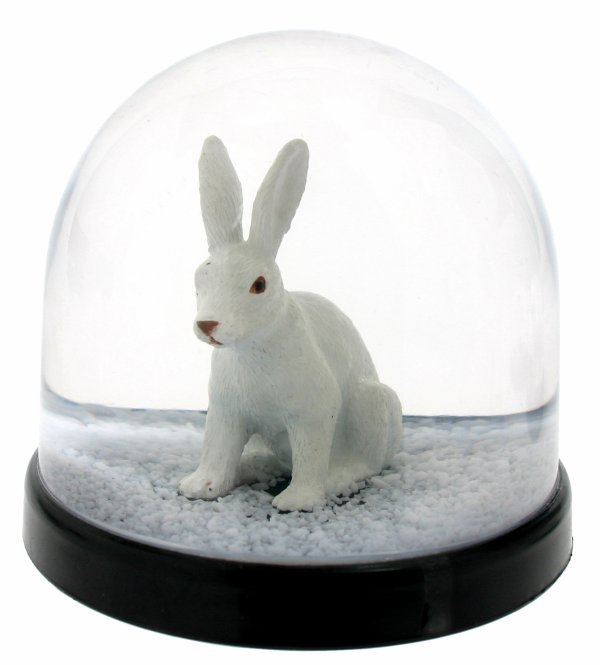 Boule a neige lapin blanc