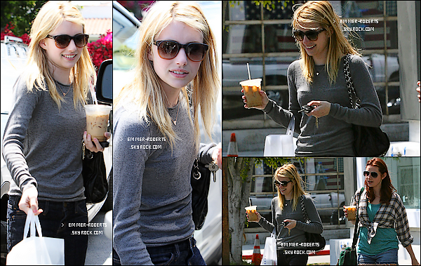 """23/05/11 : La belle Emmer  été aperçue avec une amie, quittant le magasin """" Fred Segal """" sur  Melrose;   & 24/05/11 : Emma a aussi été vue quittant le """" Dry Bar salon """", dans West Hollywood, avec une amie."""