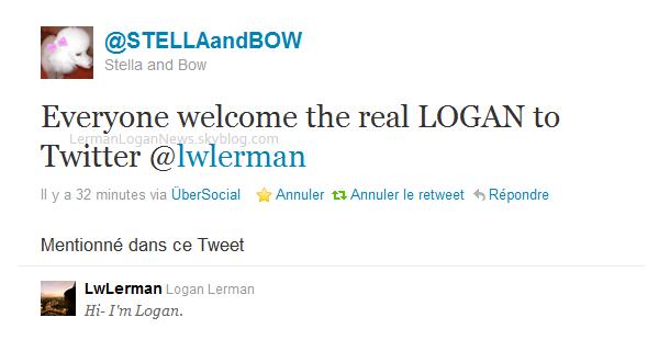 Logan a désormais un compte twitter! Sa soeur (@STELLAandBOW) l'a comfirmé sur son twitter! Alors qu'est ce que vous attendez, followez tous Logan: @LwLerman!
