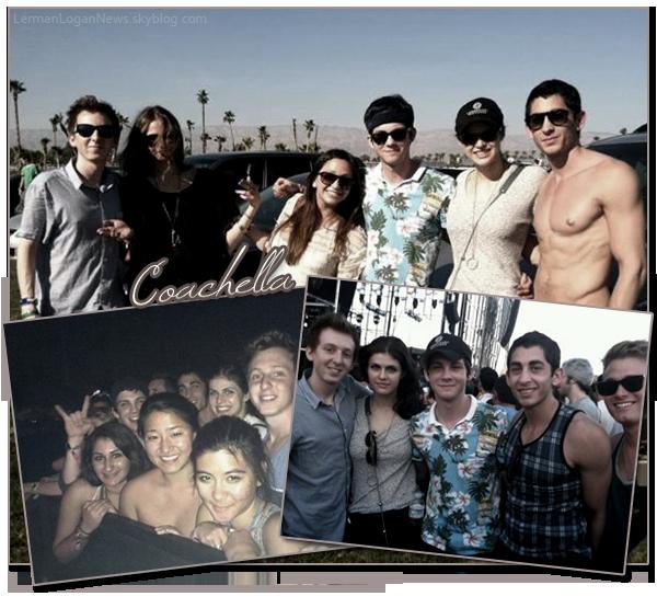 Voici quelques photos personnelles, que Dean Collins a posté sur son twitter, du festival Coachella. C'est un festival de musique qui réunit des groupes et des chanteurs. On peut y voir Logan, Dean son meilleure ami, Lindsey sa soeur, Lucas son frère, Alexandra Daddario et d'autres amis de Logan. Qu'en penses tu?