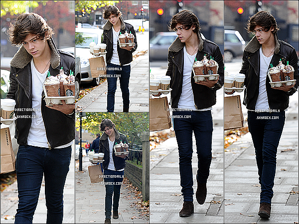 30/10/12 -Harry a était vu à Chelsea en rapportant des chocolats de Starbucks Coffee à Londres !