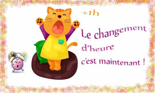 BONJOUR TOUT LE MONDE / CHANGEMENT D'HEURE CETTE NUIT BON SAMEDI