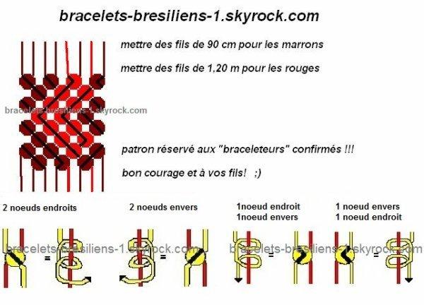patron / plan de bracelet bresilien à petits coeurs !!